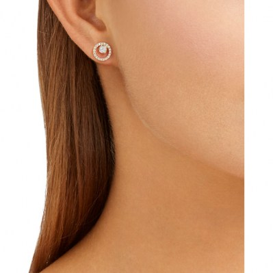 72abe57fb SWAROVSKI CREATIVITY CIRCLE PIERCED EARRINGS, SMALL, WHITE, ROSE GOLD  PLATING