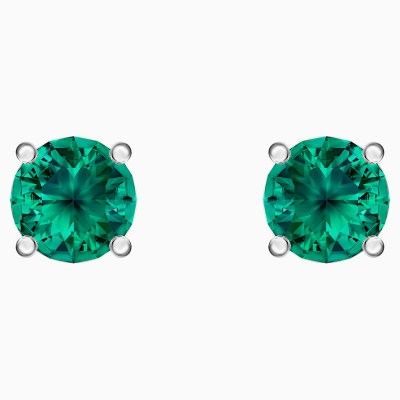 attract-stud-pierced-earrings--green--rhodium-plated-swarovski-5512384