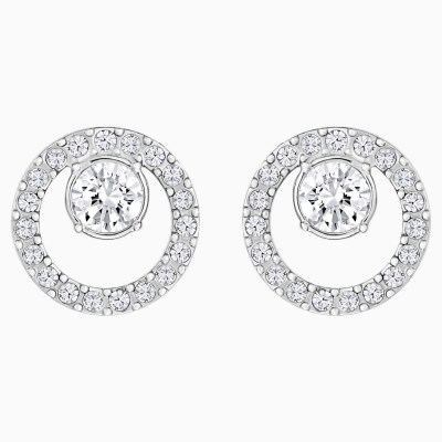 creativity-circle-pierced-earrings--white--rhodium-plated-swarovski-5201707