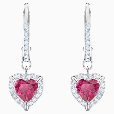 one-pierced-earrings--red--rhodium-plated-swarovski-5456979